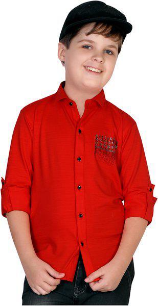 Mashup Boy Knitted Printed Shirt Red