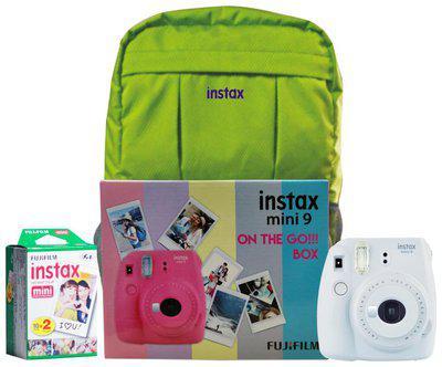 Fujifilm Instax Mini 9 Smoky White On The Go Box Combo (Camera plus Films plus Bag) (Smoky White)