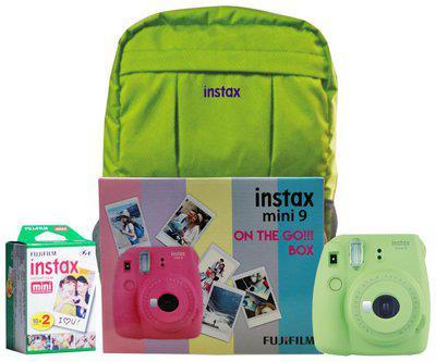 Fujifilm Instax Mini 9 Lime Green On The Go Box Combo (Camera plus Films plus Bag) (Lime Green)