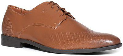 Arrow Men Brown Textured Leather Perforated Wingtip Derbys