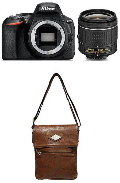 Nikon D5600 Kit (AF-P DX NIKKOR 18-55mm F/3.5-5.6G VR) DSLR Camera (Black) plus FREE Nikon DSLR Bag plus 16GB Memory Card - Free Lee Cooper Sling Bag