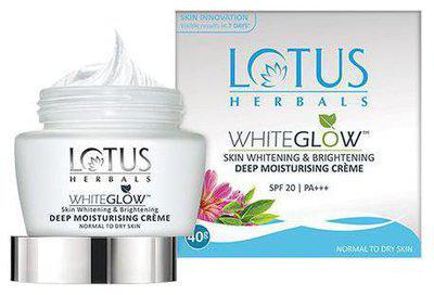 Lotus Herbals Whiteglow Skin Whitening & Brightening Deep Moisturising Creme PA plus plus plus - SPF 20 60 g