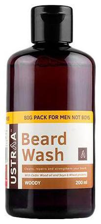 USTRAA Beard Wash - Woody, For Men 200 ml