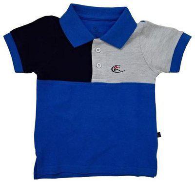 KiddoPanti Boys Colorblock Cotton Blend T Shirt(Blue, Pack of 1)