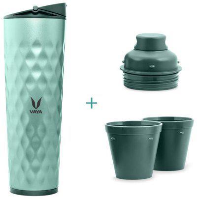 Vaya Drynk 3 in 1 Stainless Steel Water Bottle (Tumbler plus Sipper plus Gulper) with 2 Cups, 600 ml, Green