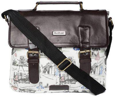 Bad Habit Brown & White Canvas Messenger Bag