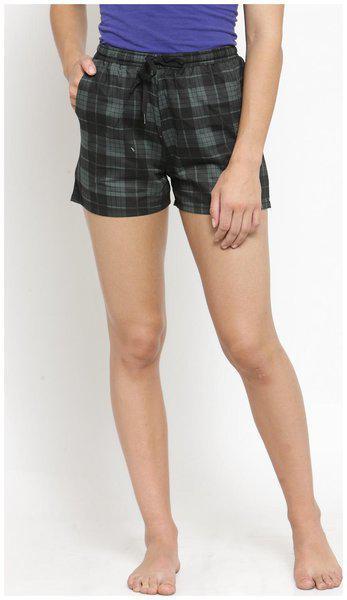 Claura Women Checked Regular shorts - Green