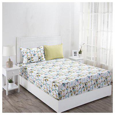 Maspar Geometric 210 TC Superfine Cotton Multi Pastel King Bedsheet With 2 Pillow Covers