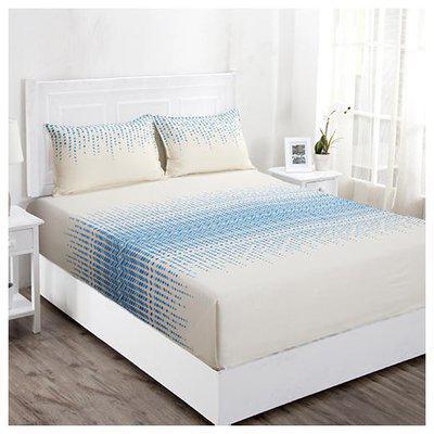 Maspar Cotton Abstract Double Size Bedsheet 210 TC ( 1 Bedsheet With 2 Pillow Covers , Blue & Beige )