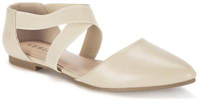 Ceriz Women's Beige Synthetic Leather Ballet Flats-