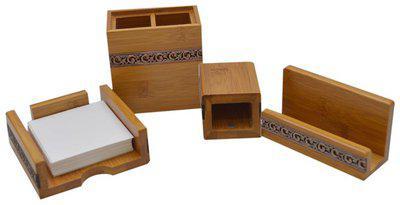 Knott Exclusive Bamboo Wooden Desk Organizer Set