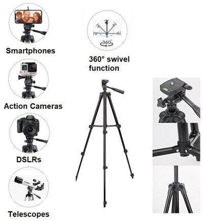 TSV Tripod-3120 Portable Adjustable Aluminum Lightweight Camera Stand For apple iPhone 8
