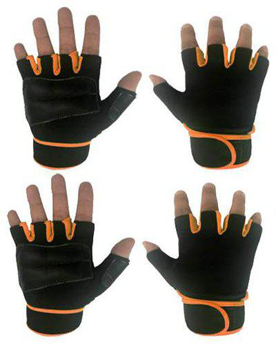 JMO27Deals Gym Gloves for Weightlifting with Wrist wrap Support Gym & Fitness Gloves (Orange)