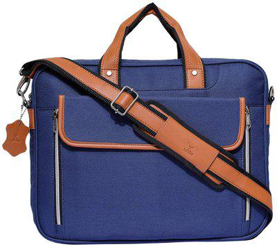 K London Blue Tetron & Tan Vegan Leather Handmade Men Laptop Bag Cross Over Shoulder Messenger Bag Office Bag (1106_blue)