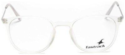 Fastrack White Oval Full Rim Eyeglasses for Men - Frame cloth and hard cover