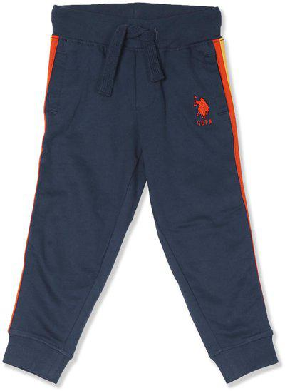U.S. Polo Assn. Baby boy Cotton Solid Trousers - Blue