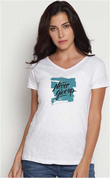 LEBISON Women Printed V neck T shirt - White