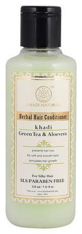 Khadi Natural Herbal Green Tea Aloevera Hair Conditioner - SLS & Paraben Free 210 ml