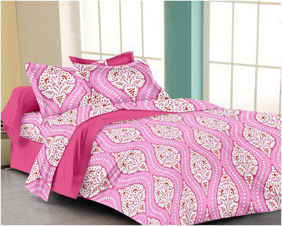 RADANYA Cotton Printed Double Size Bedsheet ( 1 Bedsheet With 2 Pillow Covers , Pink )