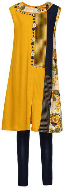 Aarika Girl's cotton a line Salwar Suit Set (KL-TR-139_Yellow_10-11 years)