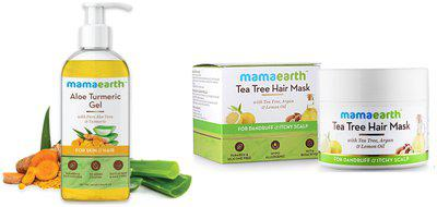 Mamaearth Aloe Vera Gel 300 ml Anti Dandruff Tea Tree Hair Mask with Tea Tree and Lemon Oil 200ml (Pack of 2)