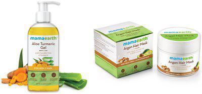 Mamaearth Aloe Vera Gel 300 ml and Argan Hairfall Control Mask, 200ml (Pack of 2)