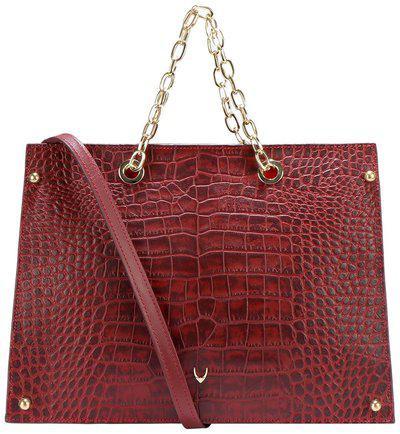 Hidesign Red Crocodile Textured Leather Handheld Bag