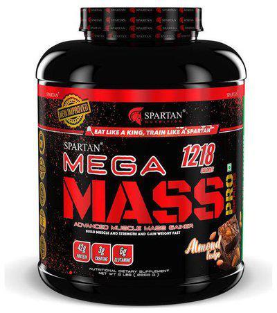 Spartan Nutrition Mega Mass Pro Series Weight Mass Gainer - 5LBS, Almond fudge