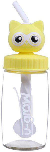 U-Grow 330 ml Glass Yellow Water Bottles - Set of 1