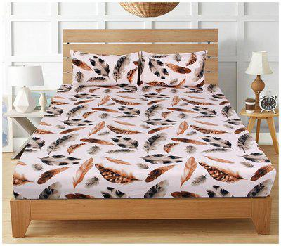 BSB HOME Cotton Printed Double Bedsheet ( 1 Bedsheet with 2 Pillow Covers , Multi )