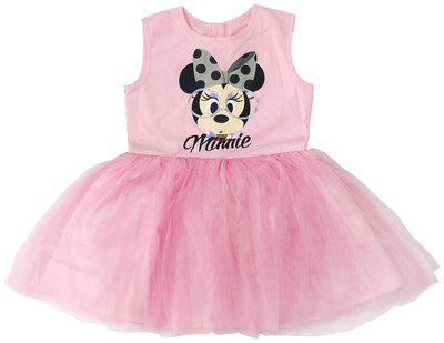 Disney Girls' Knee Length Dress ( GDRS001/2-3Y_Pink_2-3 Years)