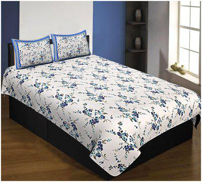 Jaipur Fabric Cotton Floral Single Bedsheet ( 1 Bedsheet with 2 Pillow Covers , Blue & White )