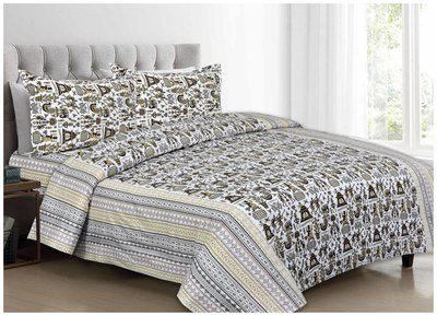AR Cotton Printed King Size Bedsheet ( 1 Bedsheet With 2 Pillow Covers , Multi )