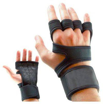 Leosportz Workout Gloves with Wrist Support for Gym Workouts, Pull Ups Gym & Fitness Gloves (Black)