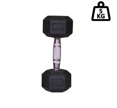 arnav Imported Rubber Coated Fixed Weight Hexagon Dumbbell One Pcs of 5 kg for Home Gym and Fitness