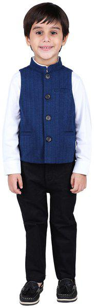 One Friday Boy Cotton Solid Ethnic jacket - Blue