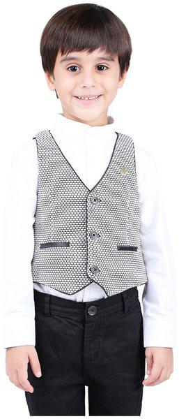 One Friday Boys Cotton Knitted Formal Waistcoat White