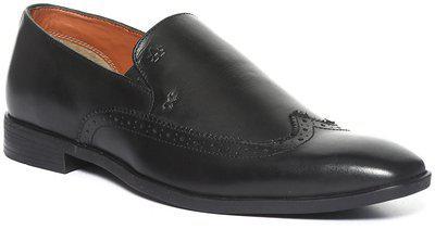 Arrow Men Black Solid Leather Slip-Ons