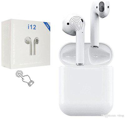 TSV i12-TWS White Charging Case Bluetooth Headset With Lightweight And Compact Portable Design Built in HD And Sensitivity Microphone