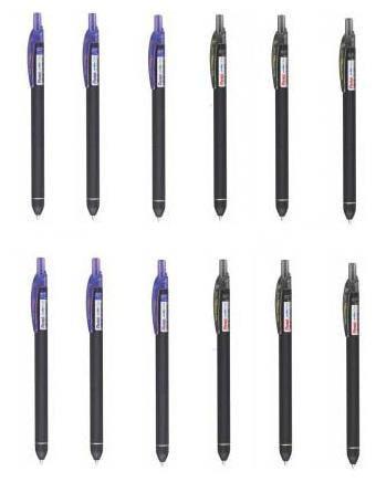 Pentel Energel Click Roller Gel Pen (6 Blue plus 6 Black Ink Colour)
