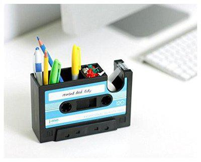 Awestuffs Rewind Desk Tidy Cassette shaped Stationery Holder Pen Stand