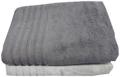 Welhouse Cotton Grey & White Organic Bath Towels - Set Of 2