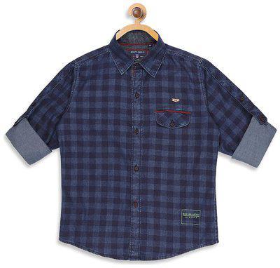 Monte Carlo Boy Cotton blend Checked Shirt Blue