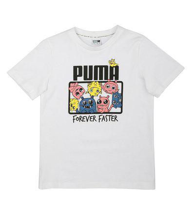 Puma Boy Cotton Printed T-shirt - White