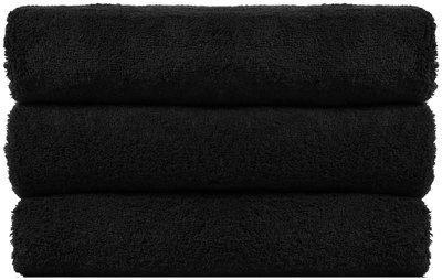 SHOP BY ROOM 300 GSM Cotton Bath Towel ( 3 Pieces , Black )
