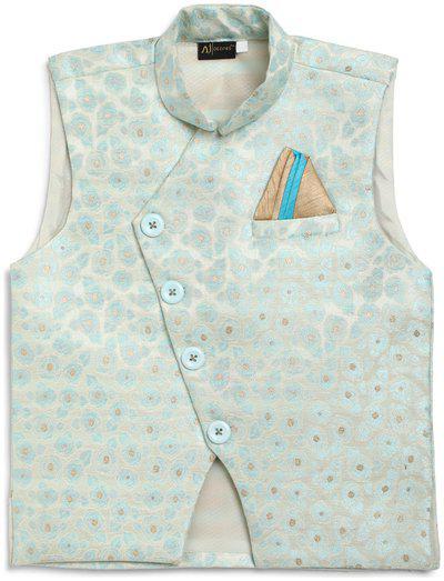 Aj Dezines Boy Silk blend Self design Ethnic jacket - Multi