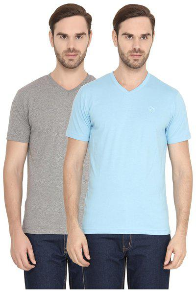 Classic Polo Men's Solid V Neck Combo T-shirt Pack Of 2 Blue & Grey