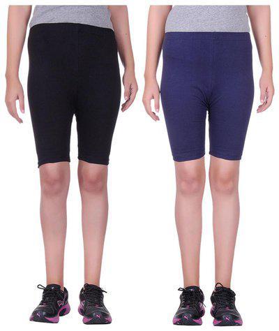 Alisha Cotton Lycra Cycling Shorts/Tights - Pack of 2