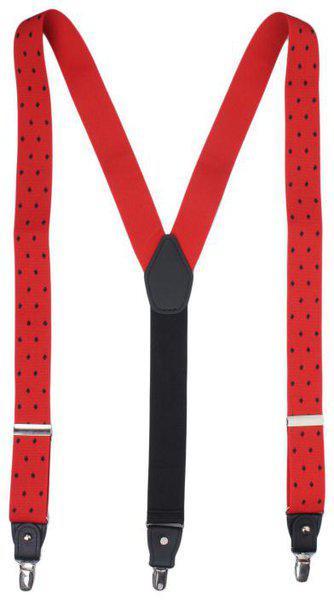 Alvaro Castagnino Red Patterned Suspenders