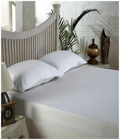 NewLadiesZone Cotton Solid Double Size Bedsheet ( 1 Bedsheet With 2 Pillow Covers , White )